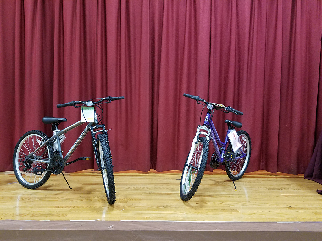 Boys and Girls bikes used to represent the Bike-Give-a-Way Program Tischer is sponsoring for DDEMS. Each and every 2016-2017 7th grader who obtains perfect attendance will receive their very own bike as a reward for doing such a good job!